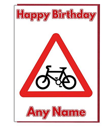 Radfahren Road Signs Personalisierte Geburtstagskarte–Jeder Name und Alter