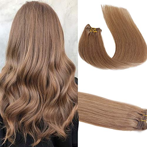 Clip in Human Hair Extensions Golden Brown 15 inches 70g Clip on for Fine Hair Full Head 7 Hair Piece Silky Straight Long Weft Remy Hair for Women