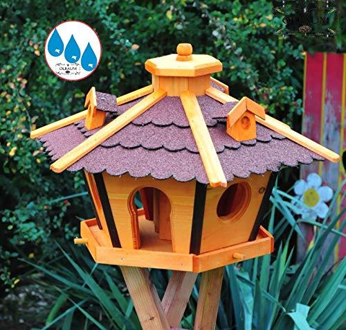 Vogelhaus Massivholz,wetterfest, mit Ständer / mit Standfuß und Silo,Futtersilo für Winterfütterung -Holz Nistkästen & Vogelhäuser- Futterhaus groß ROT mit Ständer rot BR45roMS - 2