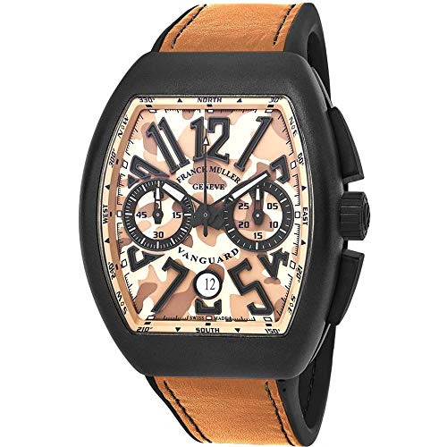 Franck Muller uomo Vanguard Brown Leather Band Automatic Watch 45 Cccamsnd