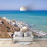 UPFGWJ Fotomurales Costa mar azul 350x256 cm Papel pintado para pared efecto 3D tamaño Fotomurales Vista 3D incluye baño Foto Mural Dormitorio Salon Fotomurales Pared Moderna De Diseno