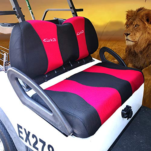 YouLeGo - Golf Cart Seat Cover Set for Club Car DS, Precedent, Yamaha and Rear Flip Seats. Breathable Washable Polyester Mesh Cloth, Renew Your Golf Cart. (CC Precedent/DS/Yamaha - Red+Black)