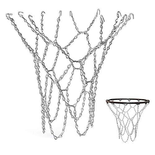 YGHH Basketballnetz Outdoor, Basketballnetz Ersatz, Basketballnetz Im Freien, Metall Basketballnetz, Langlebiges Verzinktes Basketballnetz Mit Haken für Indoor Basketballplatz, Campus Basketballplatz