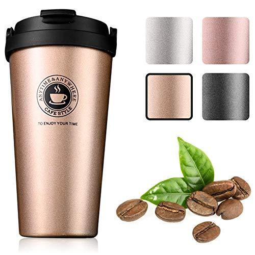 Gresunny Tazza da caffè isolata tazza da viaggio a doppia parete isolamento sottovuoto in acciaio inossidabile con coperchio a tenuta stagna tazza termica riutilizzabile per caffè tè acqua