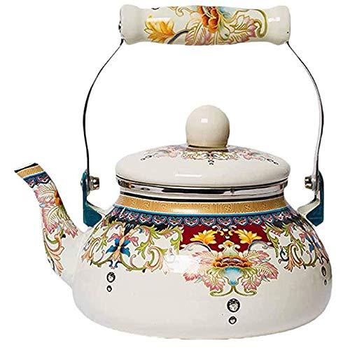 LAMEIDA Teekanne Blumenkeramik Emaille Hauptporzellan Kessel Induktionsherd Gas allgemeine Wasserkessel 2.4L Kaffee-Topf Milch Fruchtsaft Pot Boden Weiß