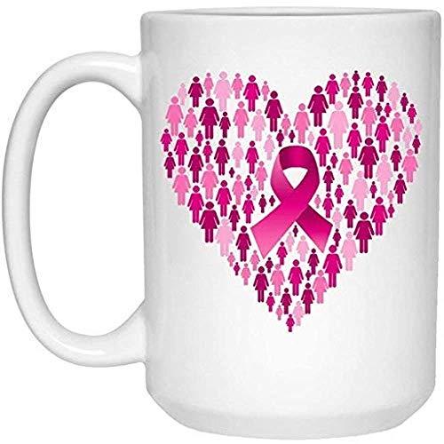 Taza de café del cáncer de pecho Taza del cáncer de pecho 15 oz. Corazón de cinta de cáncer de mama