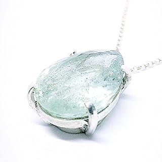 Prezioso ciondolo in argento sterling con eccezionale acquamarina blu/verdastra naturale di 16,03 carati (19 mm x 15,2 m...
