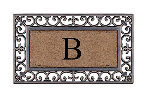A1 Home Collections A1hc85 B Doormaat Rubber And Coir Heavy Duty Monogrammed Doormat Bronze Paisley Border Accuweather Shop
