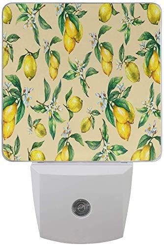 Paquete de 2 lámparas de luz nocturna LED enchufables con estampado de hojas de flores de color amarillo limón con sensor de anochecer a amanecer para dormitorio, baño, pasillo, escaleras