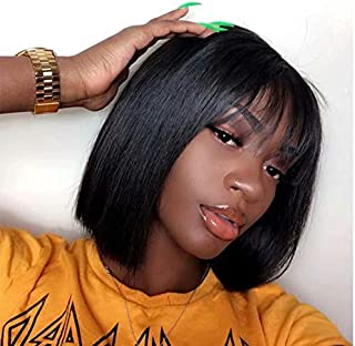 Quinlux Wigs 360 Lace Front Wig 150% Density Air Bangs Natural Color Short Bob Wigs Brazilian 100% Human Hair For Women (8 Inch/360 wig, 150% density)