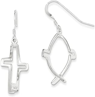 925 Sterling Silver 46 MM Ichthus (fish) Cross Shepherd Hook Earrings
