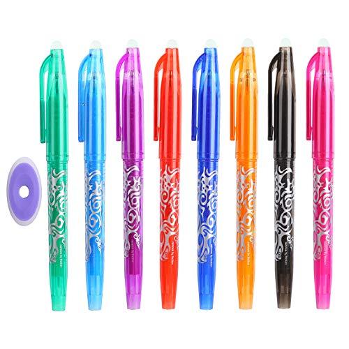 Tintenroller Löschbarer Stift Johiux 8 Stück Tintenroller Radierbar mit 1 Radiergummi für Kinder Studenten Erwachsene. (Style 2)