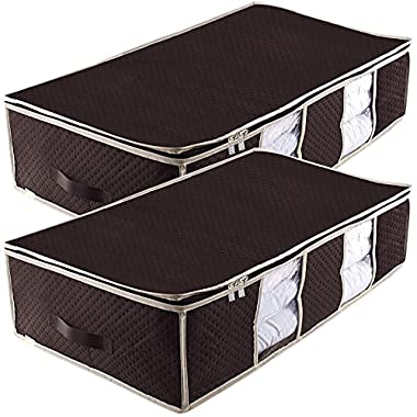 Underbed Storage Bag,Breathable Blanket Clothes Organizer Containers Bins for Comforter and Quilt,Tidy Up Your Closet,Shelves,with Clear Window and Dual Zippers,2 Strong Leather Handles,Set of 2 Brown