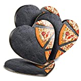 Destination Vinyl ltd Great Posavasos (juego de 4) corazón – rebanadas de pizza sobre fondo de pizarra, posavasos brillantes / protección de mesa para cualquier tipo de mesa #24032