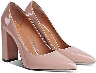 MOOMMO Escarpins à talon haut pour femme - Pointe pointue en daim - Sandales à orteils fermés - Chaussures de bureau pour ...