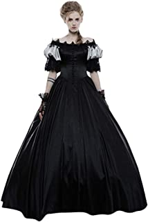 Fashion Women Medieval Vintage Gothic Court Gown Cake Skirt Lace Clashing Dress