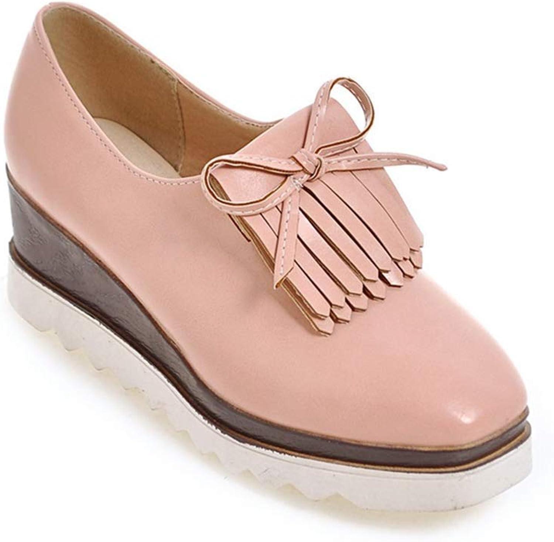 Beautiful - Fashion Women's Tassel Platform Wedge Oxford Classic Wingtip Square Toe Slip On Chunky High Heel Loafer shoes