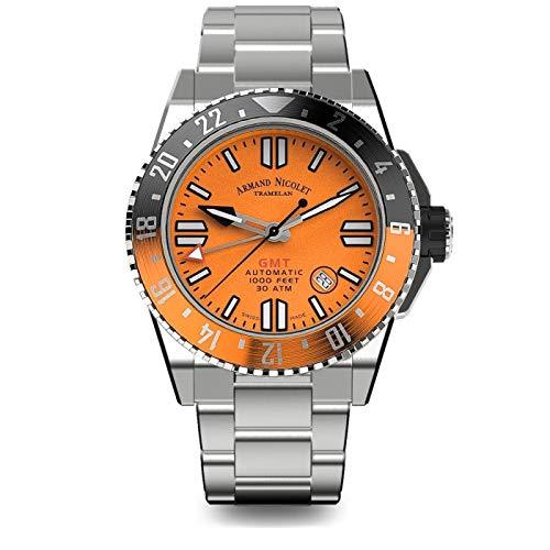 Orologio da Uomo Armand Nicolet Automatico GMT JSS Arancione da Sub Impermeabile 300M