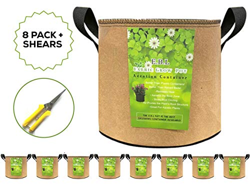E.B.L. 5 Gallon Grow Bags for Indoor/Outdoor Plants – 8 Nonwoven Fabric Pots with Reinforced Handles Accelerate Plant Growth for Bountiful Container Gardening – Includes Pruning Shears