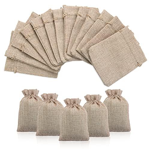 50X Bolsas de Yute Bolsitas Sacos de Yute con Cordón, Bolsas de Lino y Cáñamo, Bolsas de Arpillera Bolsa de Yute para Almacenar Hierbas, Especias, 9x12cm