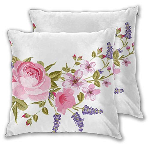 Lavender Pillow Covers Decorative Bridal Style Garland of Rose Sakura and Lavender Vintage Artistic Bouquet Flora for Room Bedroom Room Sofa Chair Car Multicolor 16' x 16', Set of 2