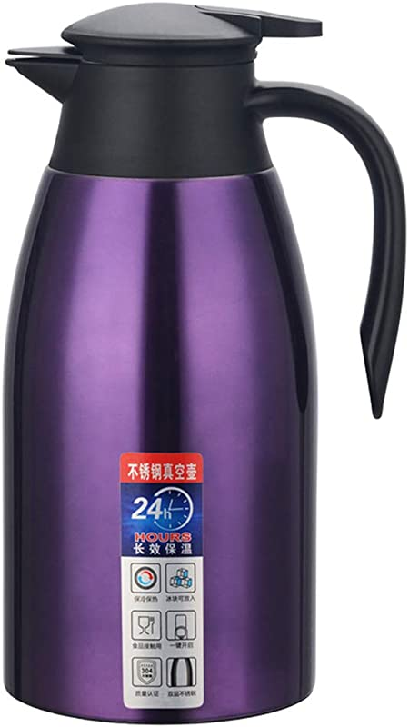 304 Stainless Steel Double Wall Vacuum Insulated Thermos Thermal Carafe Coffee Pot With Pump 24hr Heat Retention For Home Office Hotel Purple