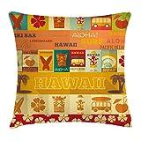 Tiki Bar Throw Pillow Cojín, diseño de Tarjetas de Viaje Retro, Vacaciones en Hawaii, Temporada de Verano, Estampado Vintage, 45 x 45 cm, Coral