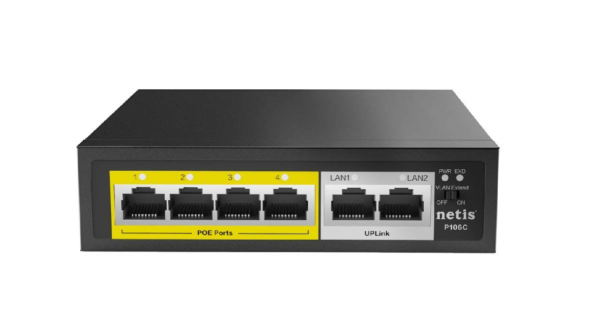 Netis PE6105 5-Port 10/100Mbps Speed Fast Ethernet PoE+ Switch | 4 Port PoE 65W Power and 1 Port Uplink with IEEE 802.3at/af Compliant Powered Devices
