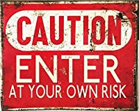 注意自己責任で入力してください 金属板ブリキ看板警告サイン注意サイン表示パネル情報サイン金属安全サイン