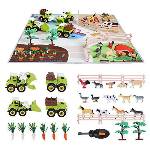TUMAMA Take Apart Car Toy Kids Educational Realistic Farmer Life Toy  Car Toy with Activity Play Mat Poultry Vegetables Tree Fence  Construction Vehicles Gifts Sets for Kids   Boys and Girls