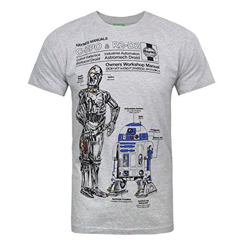 STAR WARS - T-Shirt à imprimé 'Haynes Manuals C3PO R2D2' - Homme (S) (Gris)