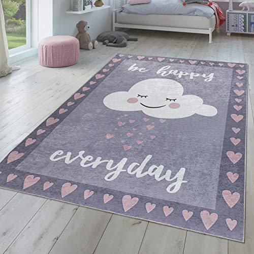 Alfombra Infantil, Tejido Plano para Habitación Infantil, Frase Estampada Y Nube, Gris Rosa, Größe:80x150 cm