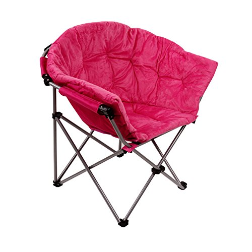 Folding Saucer Moon Chair Short Plush Faux Fur Padded Club Seat (Pink)
