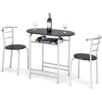 Amazon Com Dining Table Set Oval 2 Chairs Modern Style Mdf Black W Wine Rack Furniture Kitchen Dining Room Save Space Romantic Dinner Relaxing Corner Apartment Restaurant Bistro Canteen3pcs 31 5 X 21 X