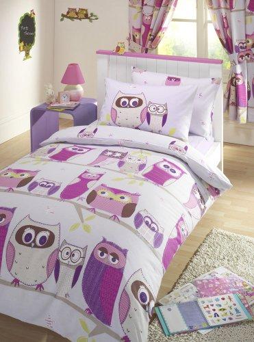 Hoot Owl Lilac Duvet Cover Set Single