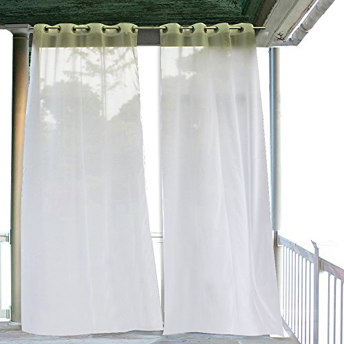RYB HOME Outdoor Curtains for Patio - 2 Panels Linen Look Semi-Sheer Curtains for Patio Waterproof, Indoor Outdoor Drapes for Gazebo Pergola Balcony Holiday Decor, 2 Ropes Included, Wide 54 x Long 84