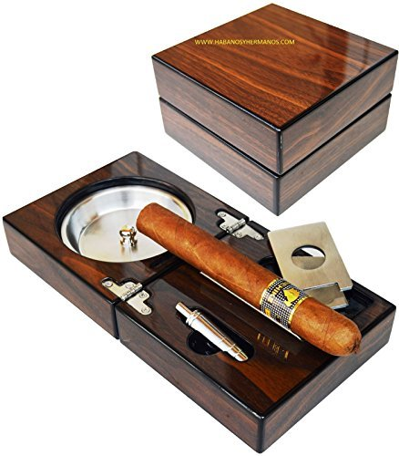 H&H The Compact Ash Tray with Cutter and Punch - 4.75' x 4.75' x 2.8' (Walnut)