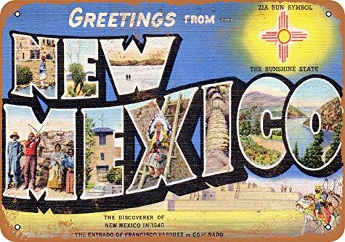 Generic Brands Greetings from New Mexico Zeichen Wandbild Wandbehang Retro Poster Kunst Kreative Tür Zeichen Hochwertiges Dekor für Bars Cafés Pubs Home