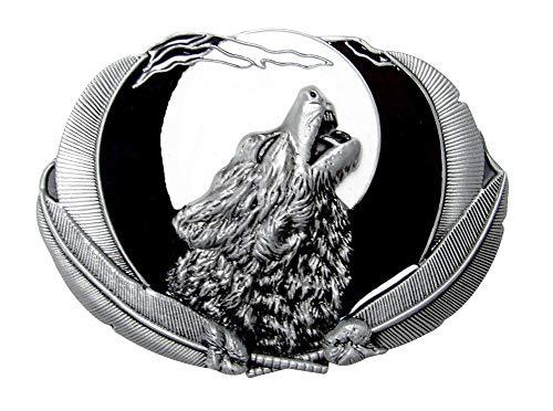 Générique Wolf belt buckle with full moon, tin.