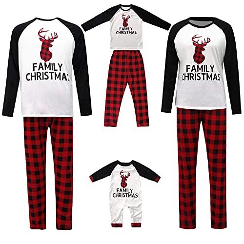 Pijamas de Navidad Familiar Pijamas Conjunto para Mujeres Hombres Niños Ciervo Patrón Camisa Top Cuadros Pijamas Bottoms Loungewear Traje, negro, blanco y rojo., 7-8 Años