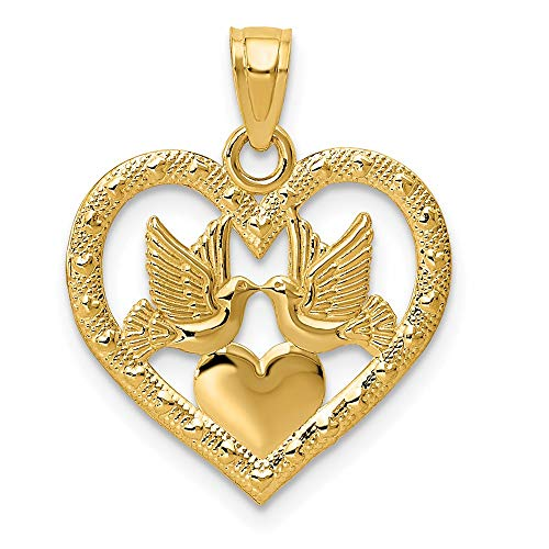 14k Yellow Gold Doves In Heart Pendant Charm Necklace Love Fine Jewelry For Women Gifts For Her