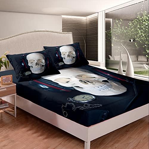 Juego de sábanas 3D con diseño de calavera, juego de cama con auriculares para niños, niñas, adolescentes, música, cama, reloj de bolsillo, tamaño individual con 1 funda de almohada