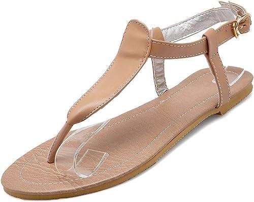 HTJL Sandales à Talons Plats en Cuir pour Les Les dames Chaussures décontractées pour Les Les dames, Ceinture en Boucle,c,43
