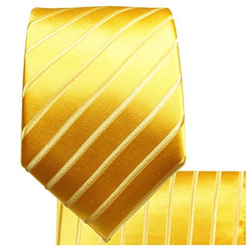 Cravate homme or rayée ensemble de cravate 3 Pièces (longueur 165cm)