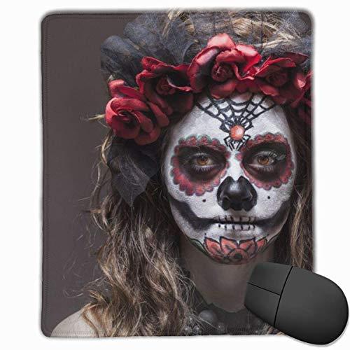 Mauspad Frau Halloween Kostüm Schädel Make-up halten glattes bequemes Gaming Mauspad mit rutschfester Gummibasis