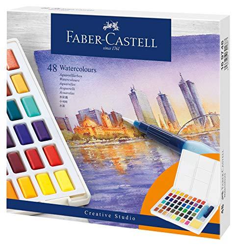 Faber-Castell 169748 Aquarellfarben in Näpfchen, mit Mischpalette und Wassertankpinsel, 48er Etui, multi, 58