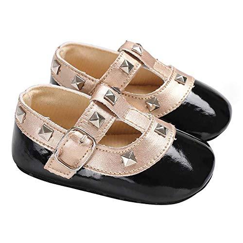 Demarkt - Zapatos antideslizantes para bebés y niñas, para niños pequeños de 3 a 18 meses Negro 11 cm