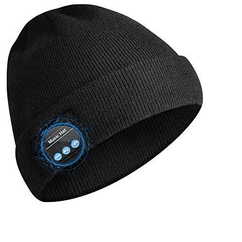 HANPURE Bluetooth Beanie Unisex, Bluetooth Mütze mit Wireless Kopfhörer, Winter Strickmütze Unterstützt Musik hören und Anruf, Wiederaufladbare, Standby-Zeit bis zu 60 Stunden, Schwarz