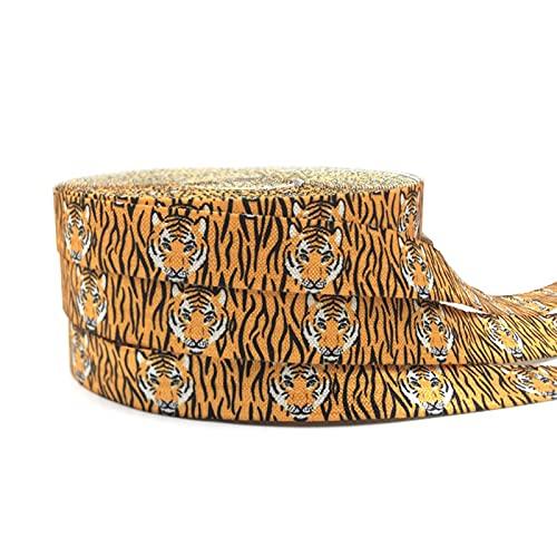 16mm leopardo flores impresión animal pliegue sobre banda elástica cinta de costura artesanía hecha a mano accesorios BRICOLAJE Bebé Diadema Pelo Lazos (Color : P1196, Width : 5yard elasitc)