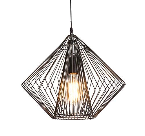 Luminaire Eirika, suspenseion métal, 40 W, noir, ø 37 x H 35 cm